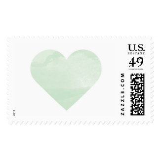 Mint Watercolor Wash Heart Postage