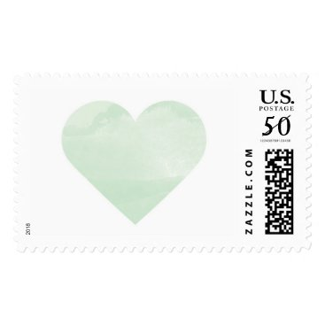 Valentines Themed Mint Watercolor Wash Heart Postage