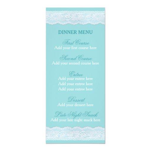 Mint Wedding Dinner Menu Template Mint Lace Card