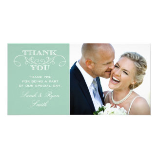 Mint Wedding Photo Thank You Cards