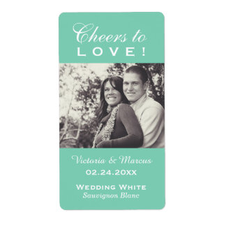 Mint Wedding Photo Wine Bottle Favor Labels
