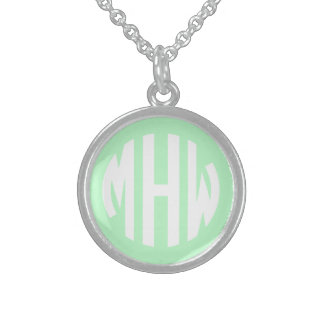 Mint White 3 Initials in a Circle Monogram Sterling Silver Necklaces