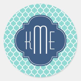 Mint White Blue Moroccan Quatrefoil Monogram Sticker