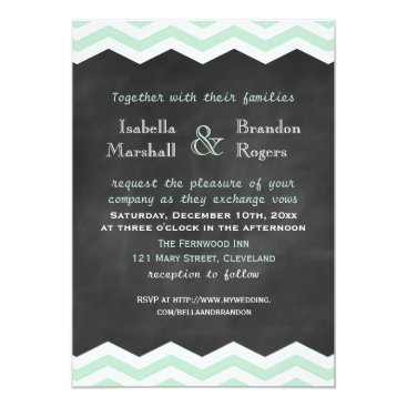 Beach Themed Mint & White Chevron Chalkboard Wedding Invitation