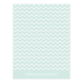 Mint & White Chevron Personalized Flat Note Card