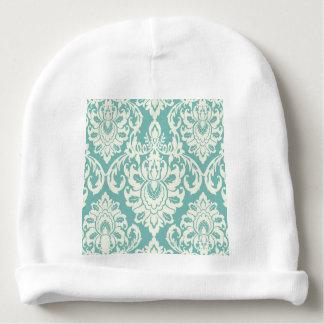 mint,white,damasks,vintage,victorian,trendy,chic,f baby beanie