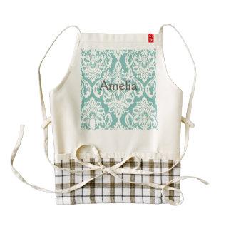 mint,white,damasks,vintage,victorian,trendy,chic,f zazzle HEART apron