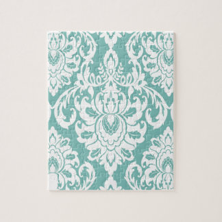mint,white,damasks,vintage,victorian,trendy,chic, jigsaw puzzle