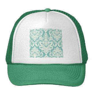 mint,white,damasks,vintage,victorian,trendy,chic, trucker hat