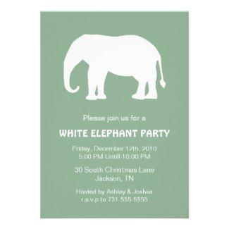 Mint White Elephant Holiday Party Invites