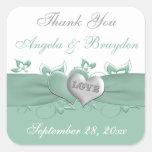 Mint, White Floral Hearts Wedding Favor Sticker