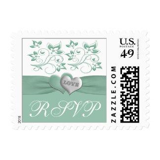 Mint White Floral Hearts Wedding RSVP Postage