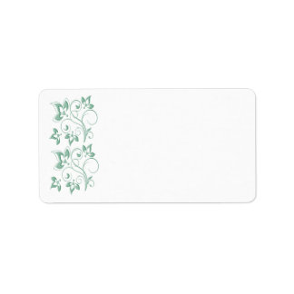Mint, White Floral Print-at-home Label Address Label