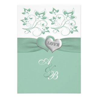 Mint, White Floral PRINTED Ribbon Wedding Invite