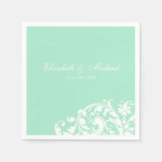 Mint White Flourish Swirl Personalized Wedding Disposable Napkins