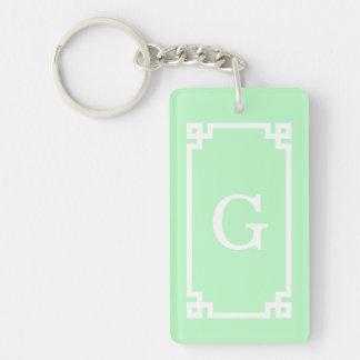 Mint White Greek Key Frame #2 Initial Monogram Double-Sided Rectangular Acrylic Keychain