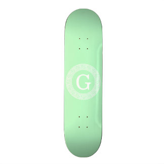 Mint White Greek Key Rnd Frame Initial Monogram Skateboard