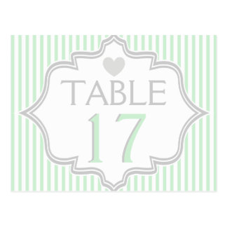 Mint, white, grey stripes wedding table number postcard