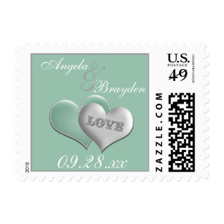 Mint White Joined Hearts Wedding Postage