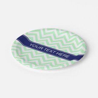 Mint White LG Chevron Navy Blue Name Monogram Paper Plate