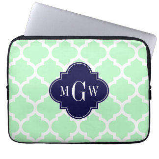 Mint, White Moroccan #5 Navy 3 Initial Monogram Laptop Sleeves