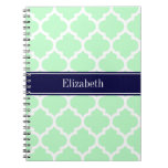 Mint White Moroccan #5 Navy Blue Name Monogram Note Book