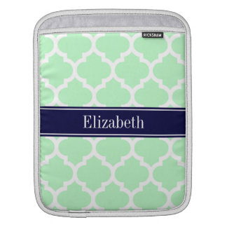 Mint White Moroccan #5 Navy Blue Name Monogram Sleeve For iPads