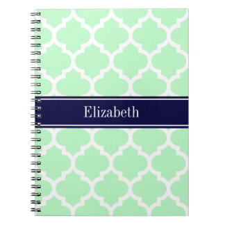 Mint White Moroccan #5 Navy Blue Name Monogram Spiral Notebook