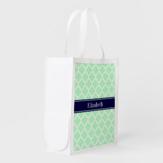 Mint White Moroccan #5 Navy Blue Name Monogram Reusable Grocery Bag