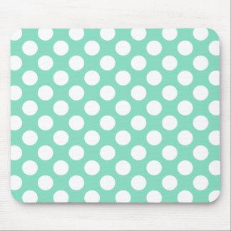 Mint White Polka Dots - Mousepad