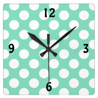 Mint White Polka Dots - Wall Clock