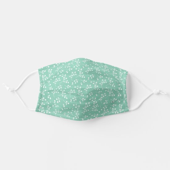 Mint & White Retro Floral Pattern Cloth Face Mask