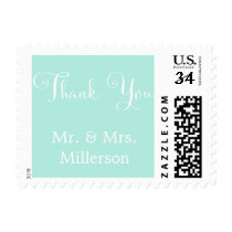 Mint White Script Personalized Wedding Thank you Postage