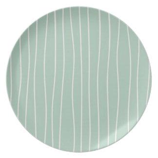 Mint & White Stripe Pattern Melamine Party Plates