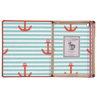 Mint,white,stripes,red anchor,marine,pattern,trend