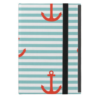 Mint,white,stripes,red anchor,marine,pattern,trend cases for iPad mini
