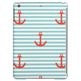 Mint,white,stripes,red anchor,marine,pattern,trend cover for iPad air