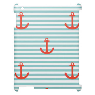 Mint,white,stripes,red anchor,marine,pattern,trend cover for the iPad