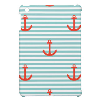 Mint,white,stripes,red anchor,marine,pattern,trend cover for the iPad mini