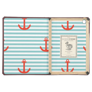 Mint,white,stripes,red anchor,marine,pattern,trend iPad air case