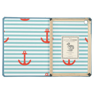 Mint,white,stripes,red anchor,marine,pattern,trend iPad air cases