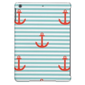 Mint,white,stripes,red anchor,marine,pattern,trend iPad air cover