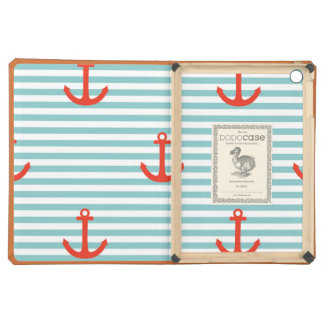 Mint,white,stripes,red anchor,marine,pattern,trend iPad air covers