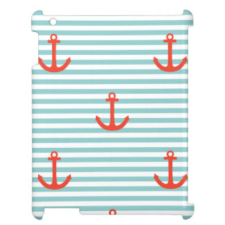 Mint,white,stripes,red anchor,marine,pattern,trend iPad covers