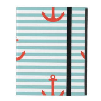Mint,white,stripes,red anchor,marine,pattern,trend iPad folio case