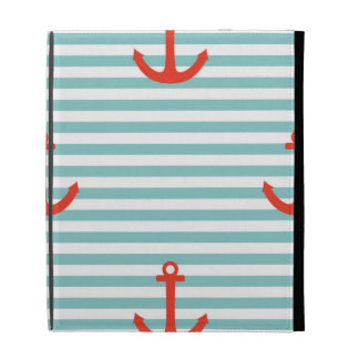 Mint,white,stripes,red anchor,marine,pattern,trend iPad folio covers