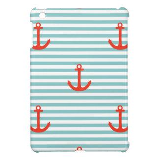 Mint,white,stripes,red anchor,marine,pattern,trend iPad mini case