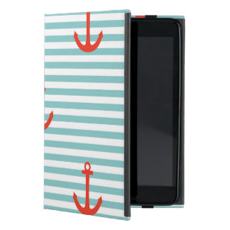 Mint,white,stripes,red anchor,marine,pattern,trend iPad mini cases