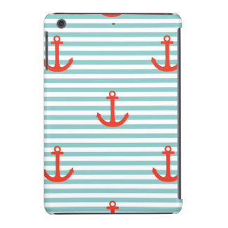 Mint,white,stripes,red anchor,marine,pattern,trend iPad mini cover