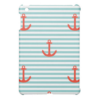 Mint,white,stripes,red anchor,marine,pattern,trend iPad mini covers
